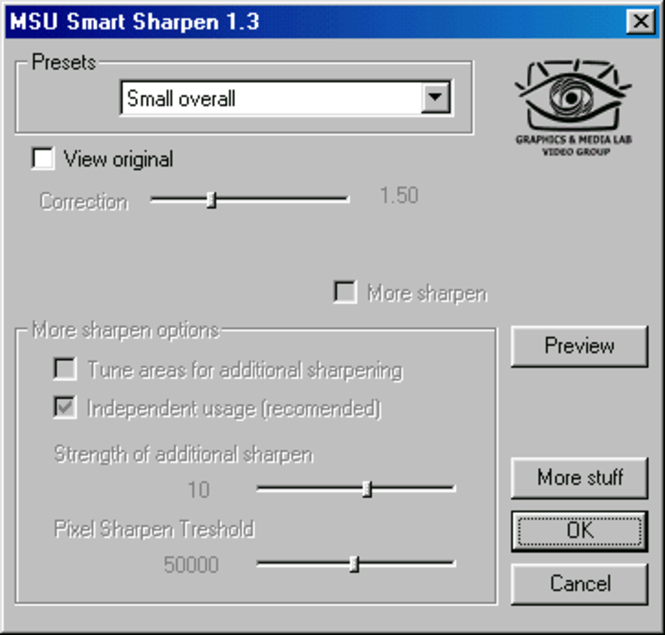 MSU Smart Sharpen for VirtualDub Video plugin Screenshot 1