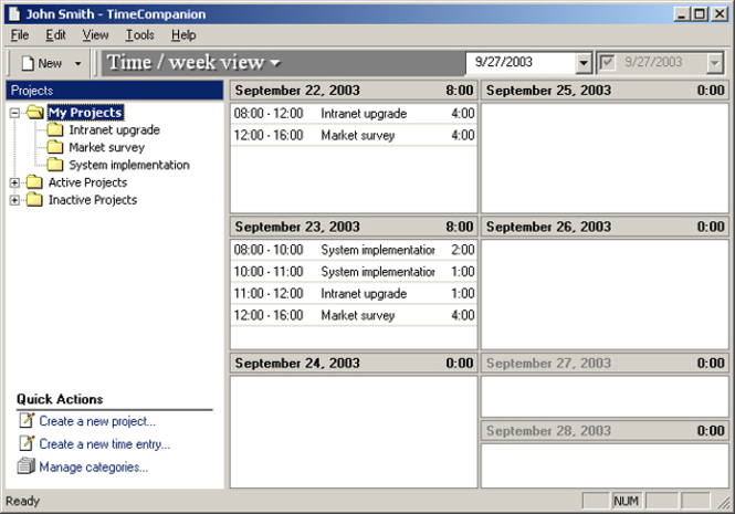 TimeCompanion Desktop Edition Screenshot