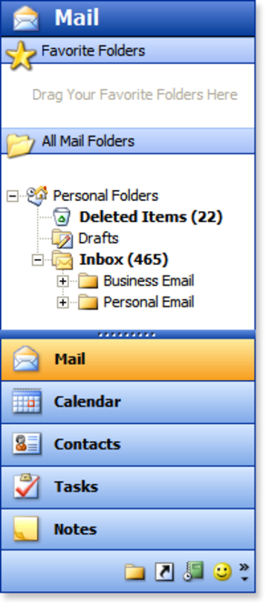 Outlook 2003 Style ShortcutBar Screenshot