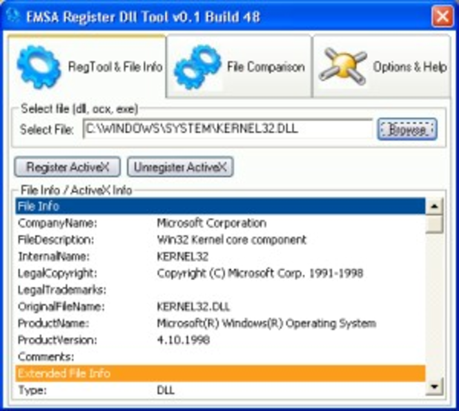 Emsa Register Dll Tool Screenshot 1