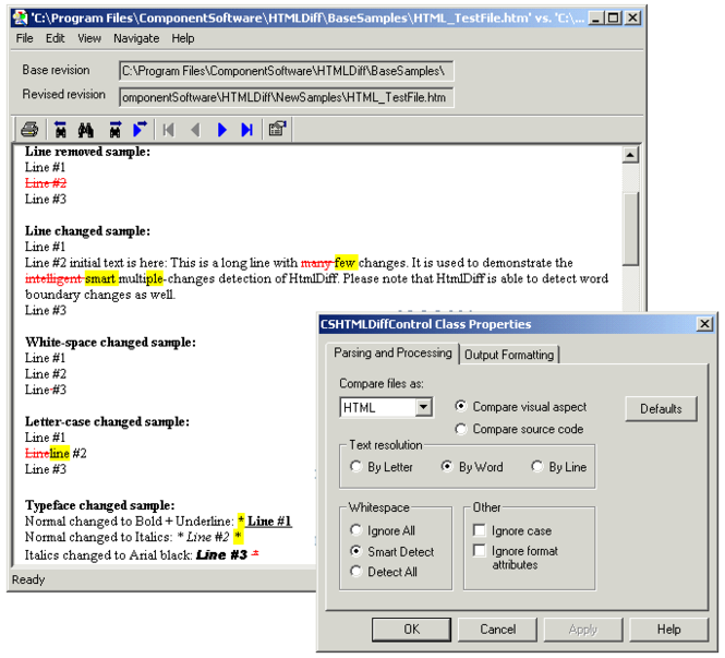 CSHTMLDiff Control Screenshot