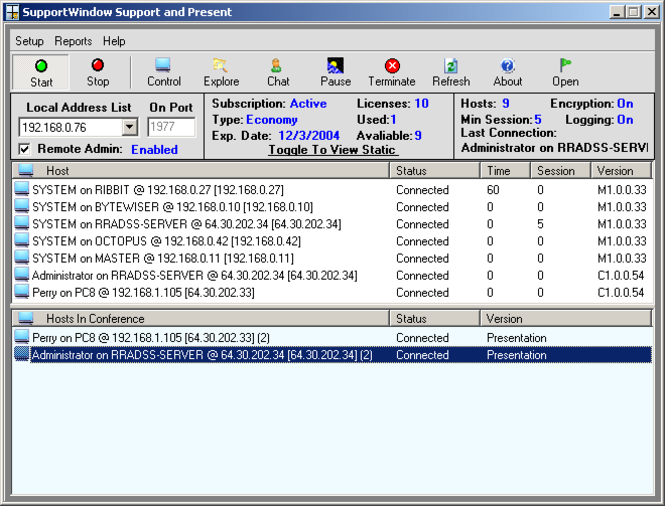 SupportWindow Console Screenshot 1