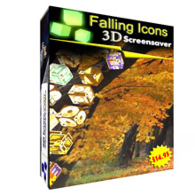 3D Falling Icons Screensaver Screenshot