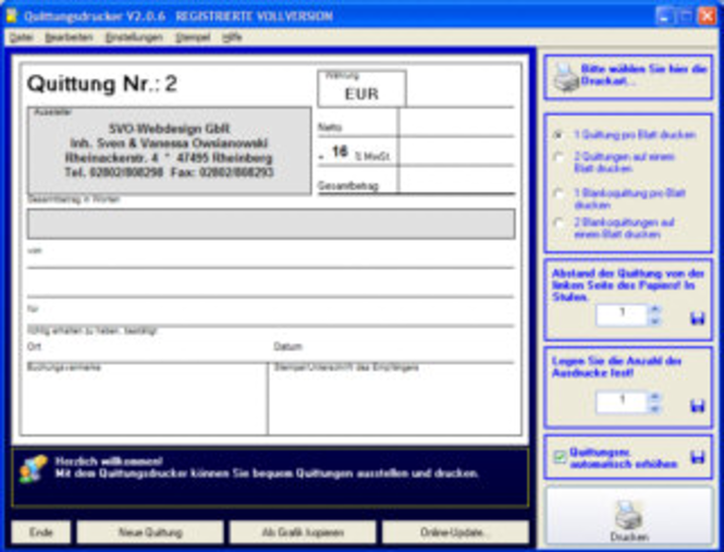 Quittungsdrucker Screenshot