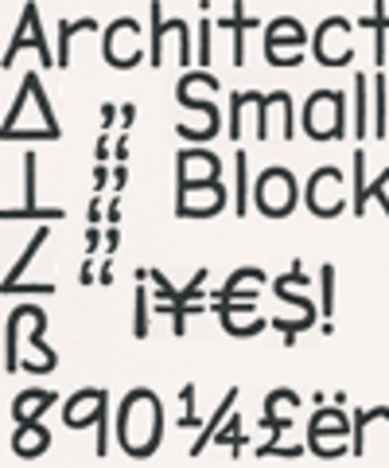 Architect Small Block PC TrueType Font Screenshot