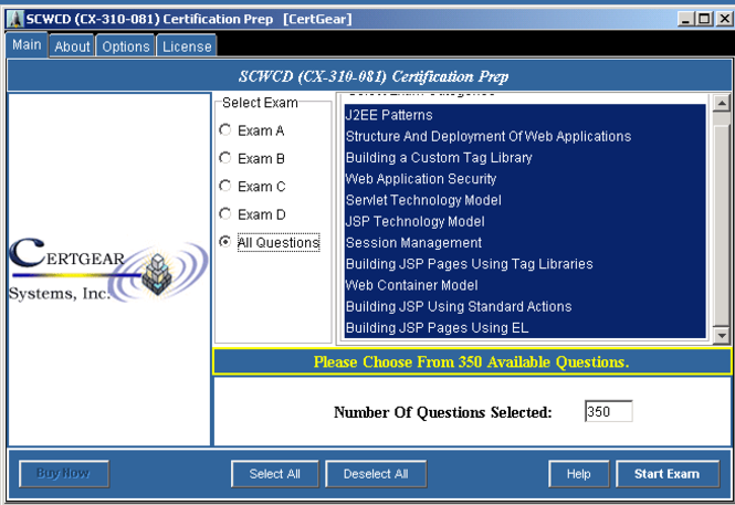CertGear SCWCD Certification (CX-310-081) Practice Tests Screenshot