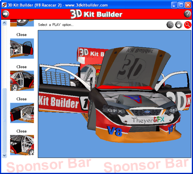 3D Kit Builder (V8 Racecar 2) Screenshot 1