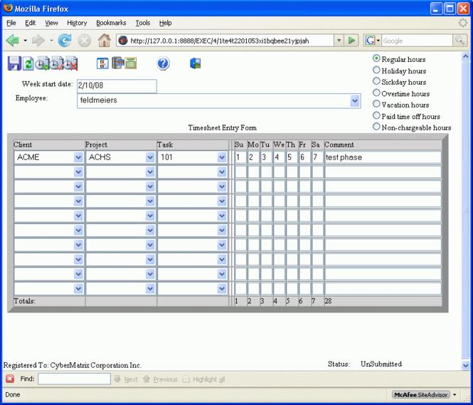 CyberMatrix Timesheets Web Screenshot 1