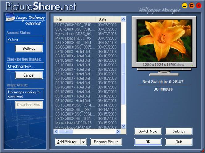 PictureShare.net Wallpaper Manager Screenshot