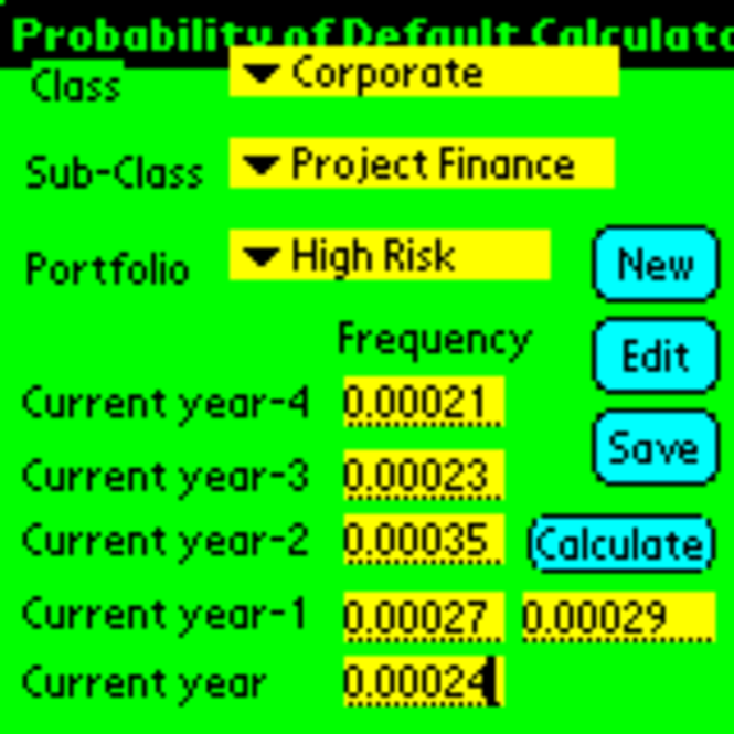 Probability of Default Calculator for Palm OS Screenshot