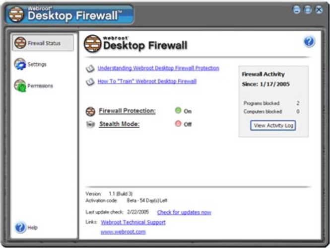 Webroot Desktop Firewall Screenshot