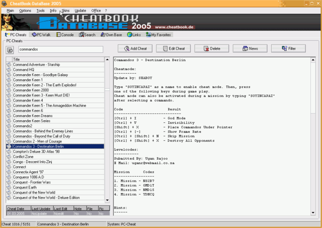 CheatBook-DataBase 2005 Screenshot
