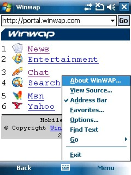 WinWAP for Windows Mobile Professional Screenshot