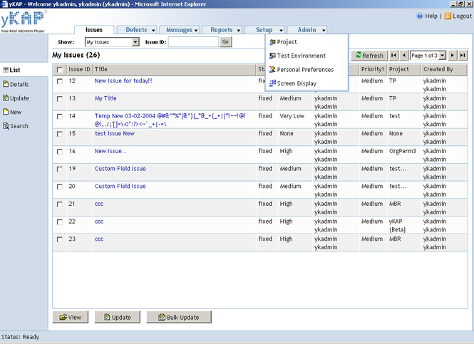 yKAP Bug Tracking / Issue Management Software Screenshot