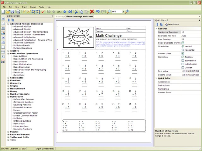 Math Resource Studio Screenshot