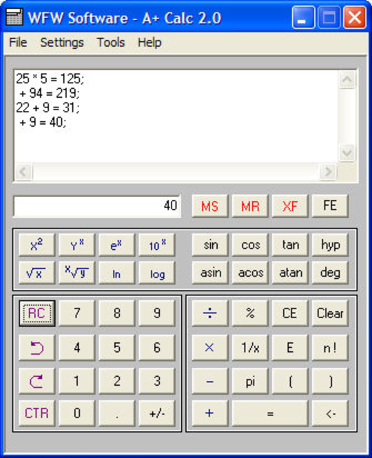 A+ Calc Screenshot