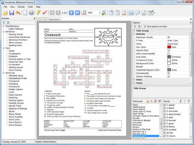 Vocabulary Worksheet Factory Screenshot