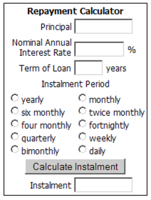 Online Loan Repayment Calculator Screenshot