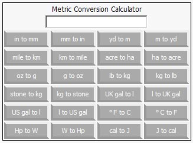 Online Metric Conversion Calculator Screenshot