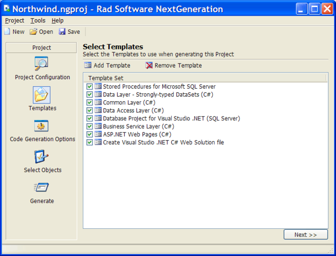 NextGeneration .NET Code Generator Screenshot