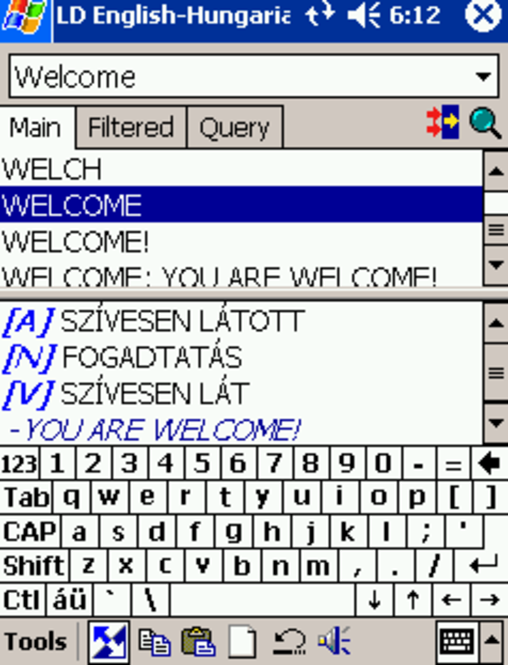 LingvoSoft Talking Dictionary English <-> Hungarian for Pocket PC Screenshot