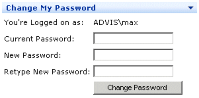 Change My Password Web Part Screenshot