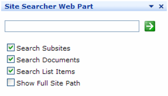 Site Searcher Web Part Screenshot