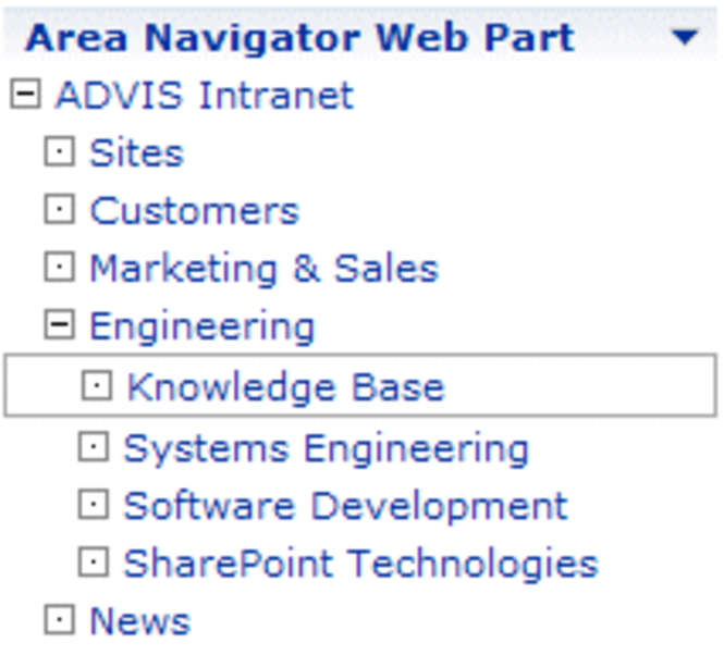 Area Navigator Web Part Screenshot