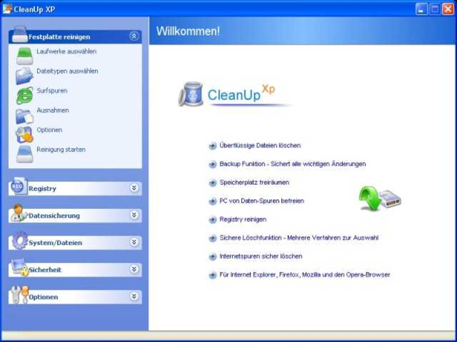 CleanUp XP Einzelplatz-Lizenz CD-Version Screenshot