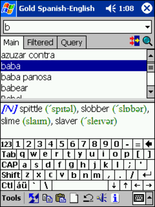 LingvoSoft Gold Talking Dictionary English <-> Spanish for Pocket PC Screenshot 1