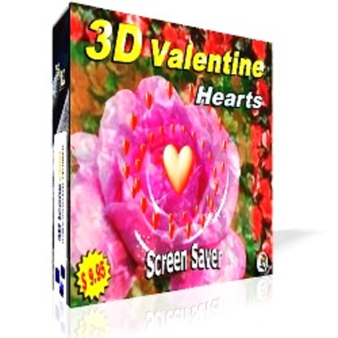 3D Valentine Hearts Screensaver Screenshot 1