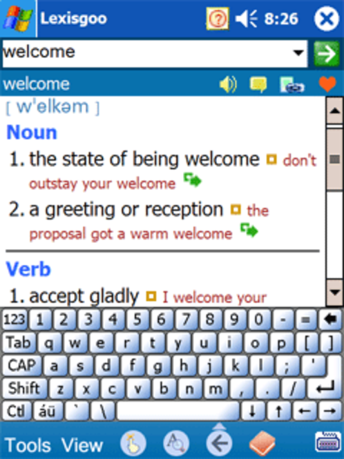 1st - Lexisgoo English Dictionary for Pocket PC New v.2.0 Screenshot