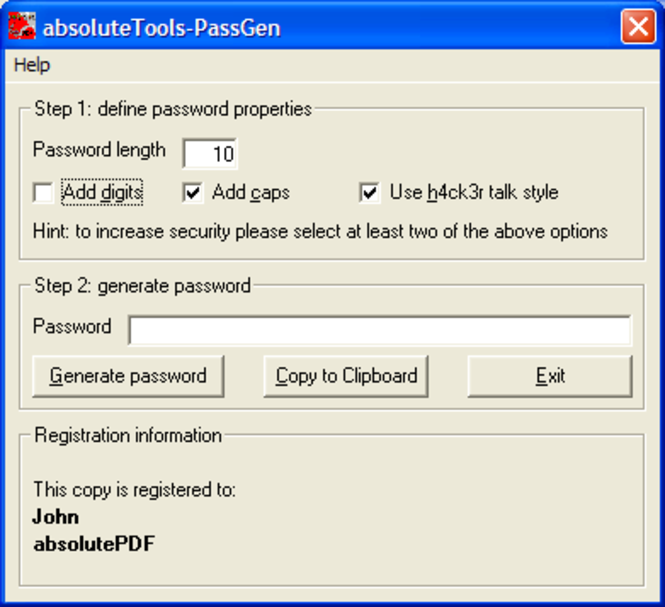 absoluteTools-PassGen Screenshot