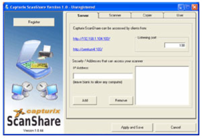 Capturix ScanShare Screenshot