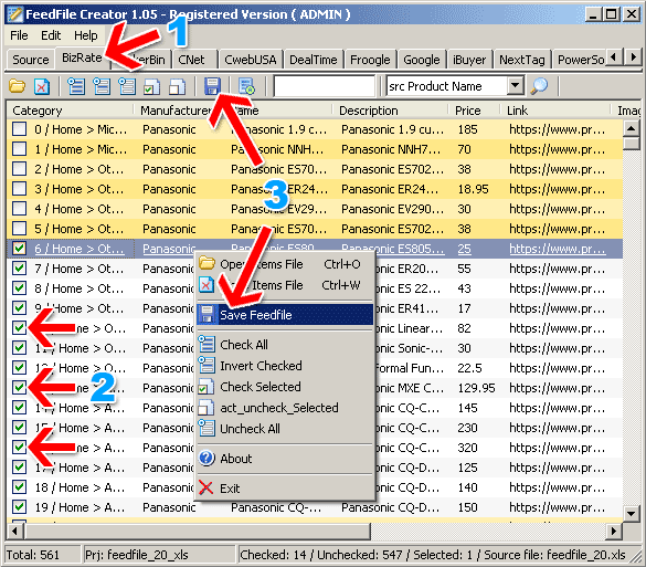 FeedFile Creator Screenshot