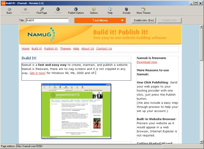 Namu6 Website Editor Screenshot
