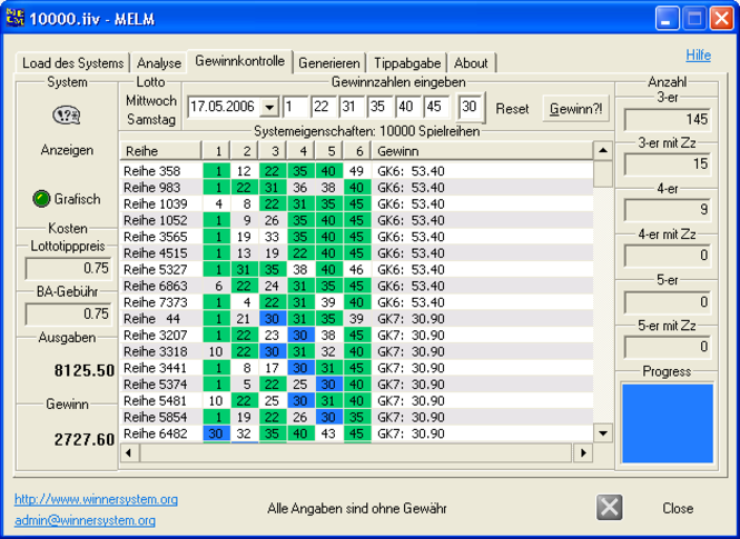 MELM, oder Programm zur Gewinnkontrolle Screenshot