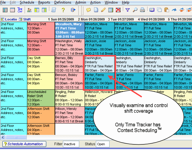 Time Tracker Scheduling Software Screenshot