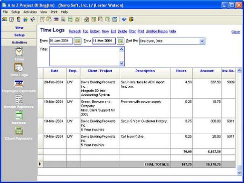 A to Z Project Billing Screenshot