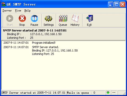 QK SMTP Server Screenshot