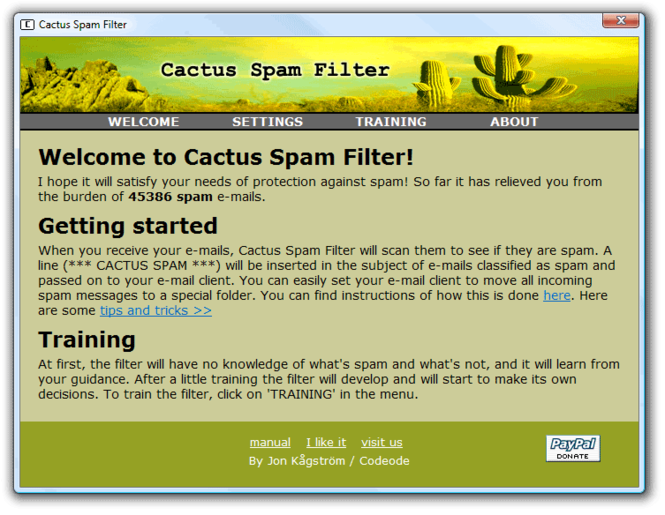 Cactus Spam Filter Screenshot