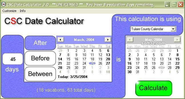 CSC Date Calculator Screenshot 2