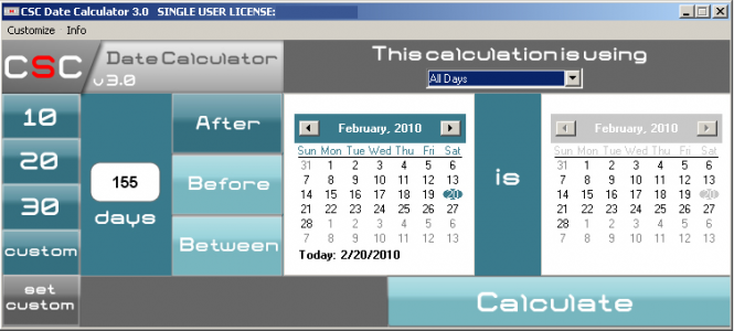 CSC Date Calculator Screenshot 1