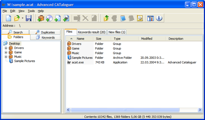 Advanced CATaloguer Screenshot