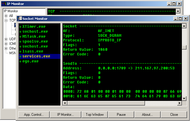 IP & Socket Monitor Screenshot