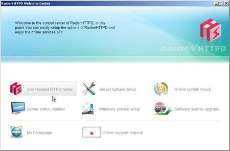 RaidenHTTPD web server Screenshot