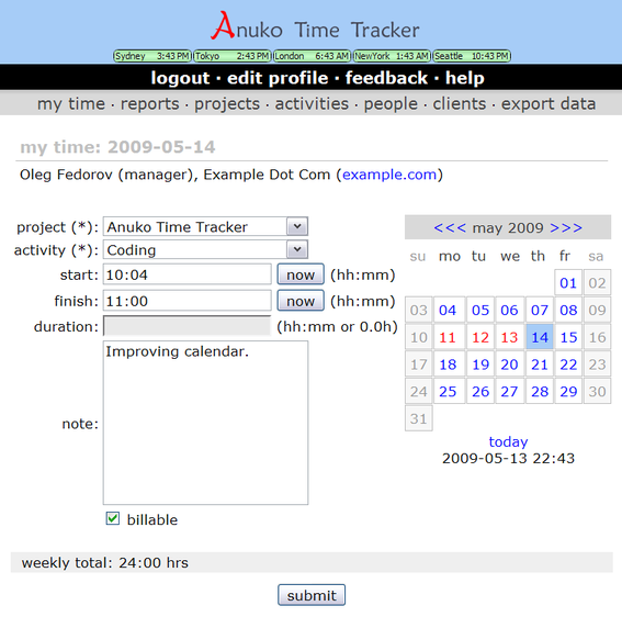 Anuko Time Tracker Screenshot
