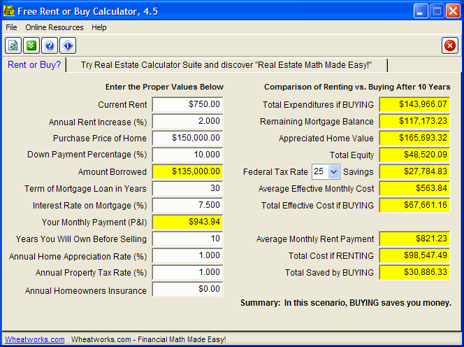 Free Rent or Buy Calculator Screenshot