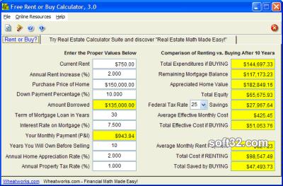 Free Rent or Buy Calculator Screenshot 2