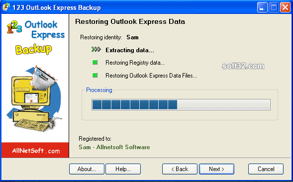 123 Outlook Express Backup Screenshot